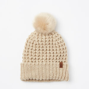 Roots-Women Hats-Olivia Faux Fur Pom Pom Toque-Flaxseed Mix-A