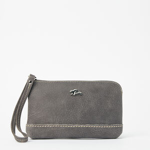 Roots-Women Leather Accessories-Funky Zip Pouch Tribe-Charcoal-A