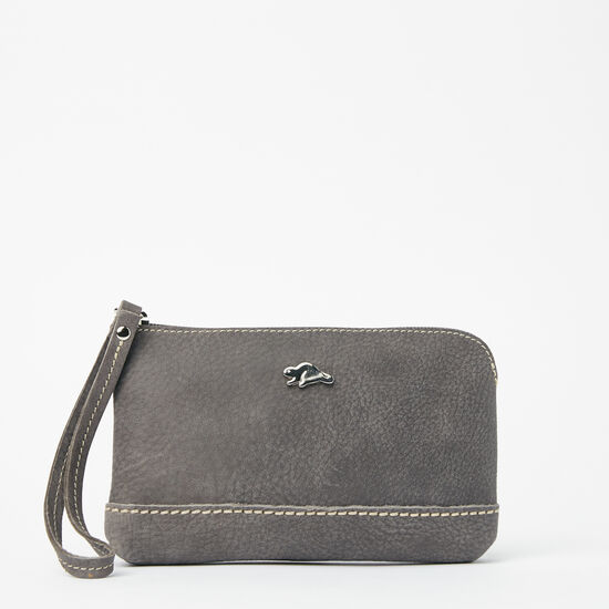 Roots-Women Leather Pouches-Funky Zip Pouch Tribe-Charcoal-A