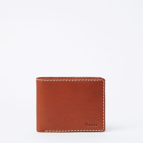Roots-Leather Men's Wallets-Mens Slimfold Side Flap Veg-Oak-A