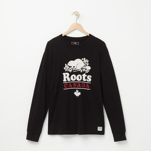 Roots-Men Graphic T-shirts-Front Long Sleeve T-shirt-Black-A
