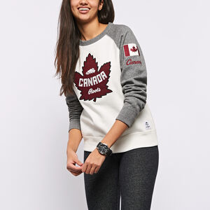 Roots-New For December Women-Heritage Canada Crewneck Sweatshirt-Pristine White-A