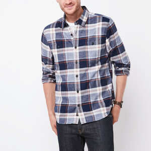 Roots-Men Plaids-Woodland Herringbone Shirt-Blue Iris Mix-A