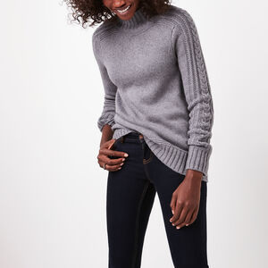 Roots-Sale Women's-Aspen Mock Neck Sweater-Med Grey Mix-A
