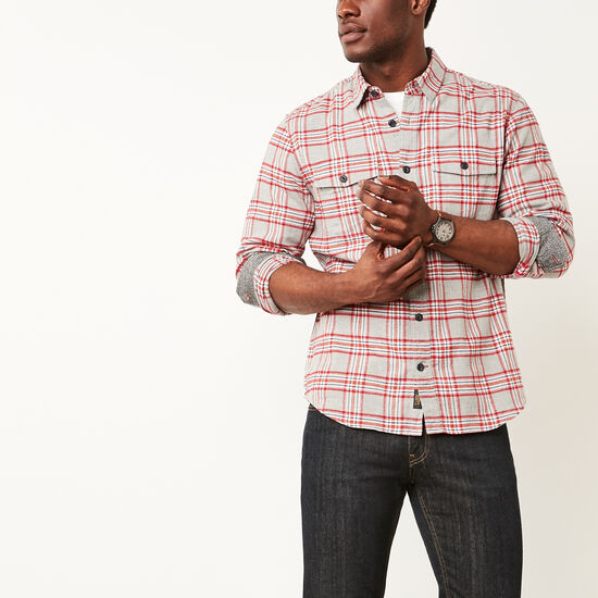 Roots-Men New Arrivals-Heritage Flannel Shirt-Grey Mix-A