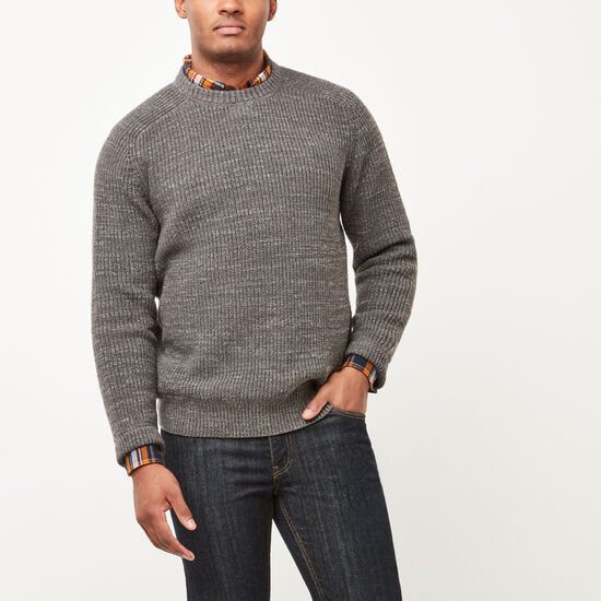 Roots-Men New Arrivals-Douglas Crew Sweater-Charcoal Grey Mix-A