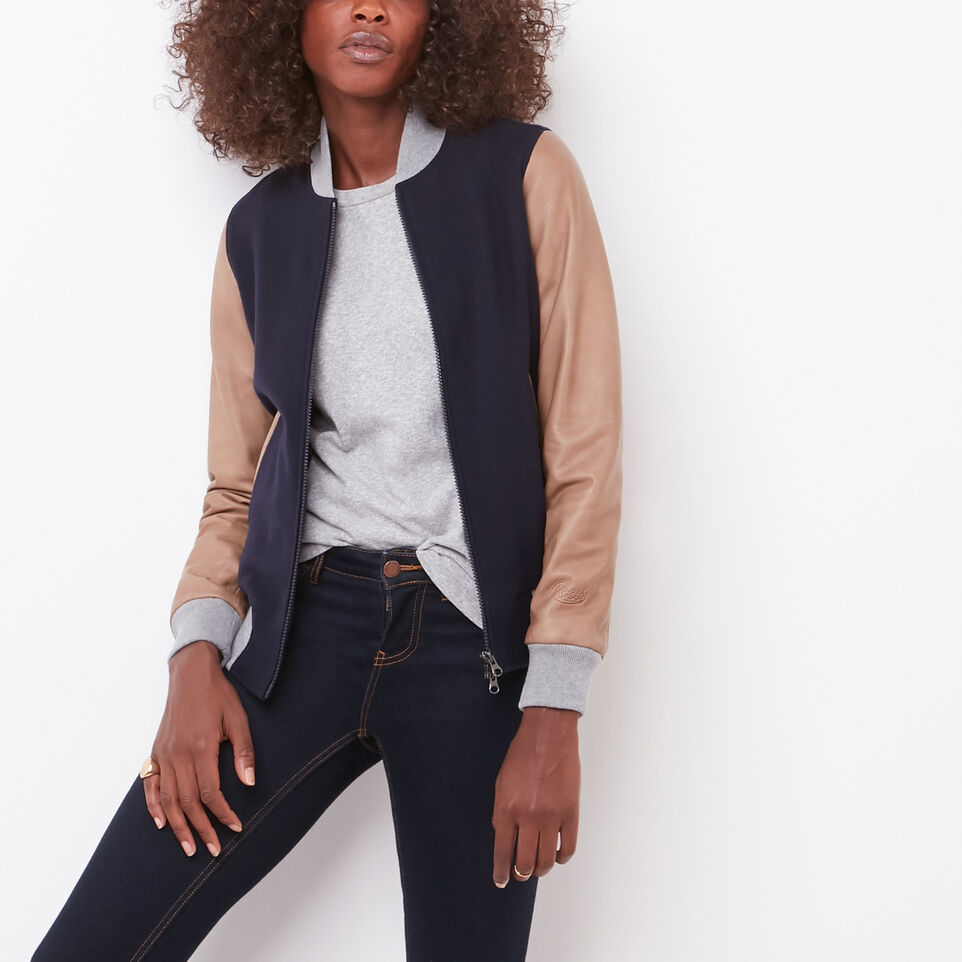 Roots-undefined-Womens Lightweight Jacket Melton/Leather-undefined-C