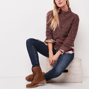 Roots-Sale Women's-Spencer Mock Neck Sweater-Lodge Red Mix-A