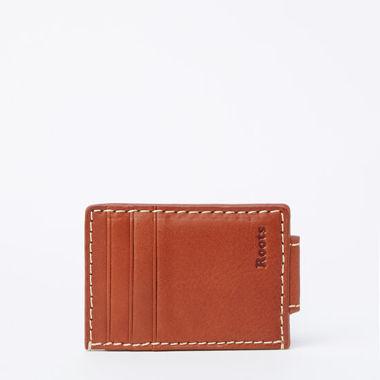 Roots-Leather Men's Wallets-Mens Money Clip Card Holder Veg-Oak-A