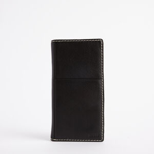 Roots-Leather Travel Wallets-Ticket Wallet Prince-Black-A