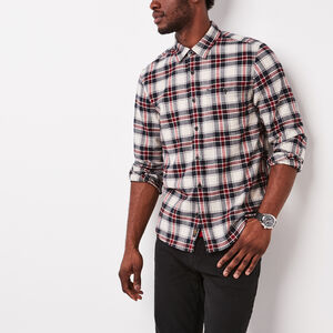 Roots-Men New Arrivals-Burnaby Flannel Shirt-Fog-A