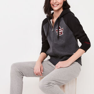 Roots-Women Bestsellers-Heritage Canada Full Zip Hoody-Charcoal Mix-A