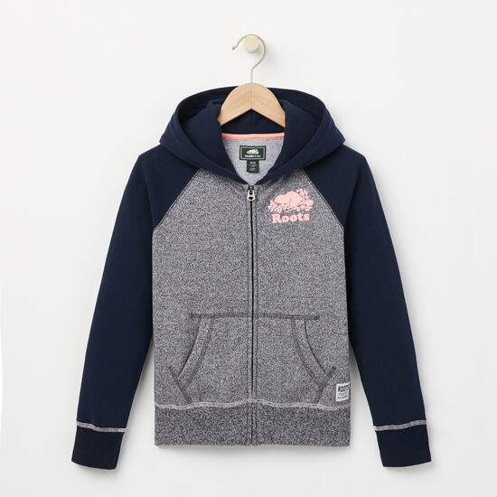 Roots-Kids Girls-Girls Original Full Zip Hoody-Navy Blazer Pepper-A