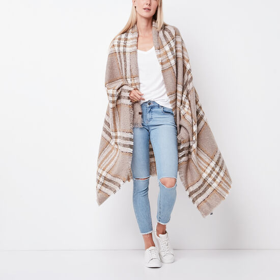 Roots-Women Scarves & Wraps-Emelia Blanket Scarf-Fawn Taupe-A