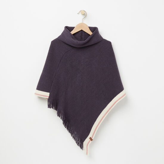Roots-Kids Tops-Girls Cabin Poncho-Night Shade-A