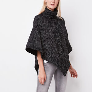 Roots-Gifts For Her-Polar Fox Poncho-Black Mix-A