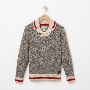 Roots-Gifts For Kids-Boys Roots Cabin Shawl Sweater-Grey Oat Mix-A