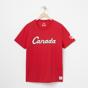 Roots-Men Graphic T-shirts-Canada Script T-shirt-Sage Red-A