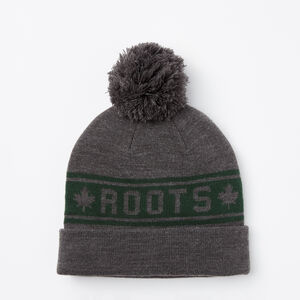Roots-Men Hats-Heritage Pom Pom Toque-Charcoal Mix-A
