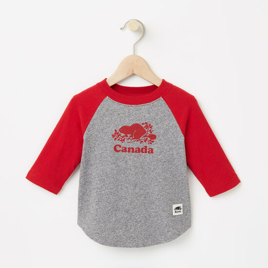 Roots-Kids Canada Collection-Baby Canada Baseball T-shirt-Salt & Pepper-A