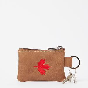 Roots-Men Leather-Maple Leaf Top Zip Pouch Tribe-Africa-A