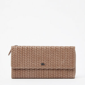Roots-Leather Woven Tribe Leather-Mia Wallet Woven Tribe-Fawn-A