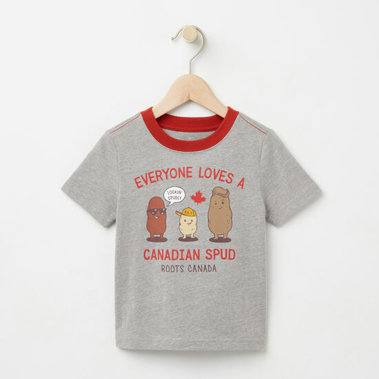 Roots-Kids T-shirts-Toddler Canadian Spud T-shirt-Grey Mix-A