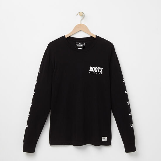Roots-Men Tops-Boulton Long Sleeve T-shirt-Black-A