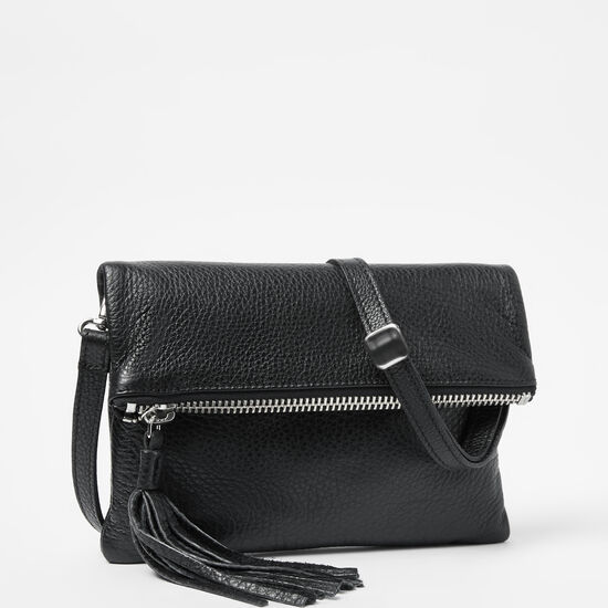 Roots-Leather Crossbody-Anna Clutch Prince-Black-A