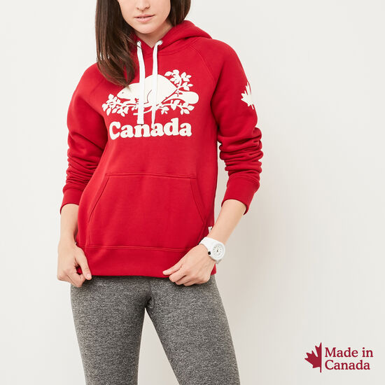 Roots-Men Women's-Womens Cooper Canada Kanga Hoody-Sage Red-A