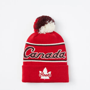 Roots-Men Canada Collection By Roots™-Canada Heritage Pom Pom Toque-Maple Red-A
