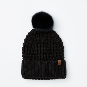 Roots-Women Hats-Olivia Faux Fur Pom Pom Toque-Black-A