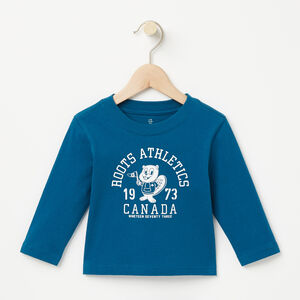 Roots-Kids T-shirts-Baby Roots Beaver T-shirt-Blue Coral-A