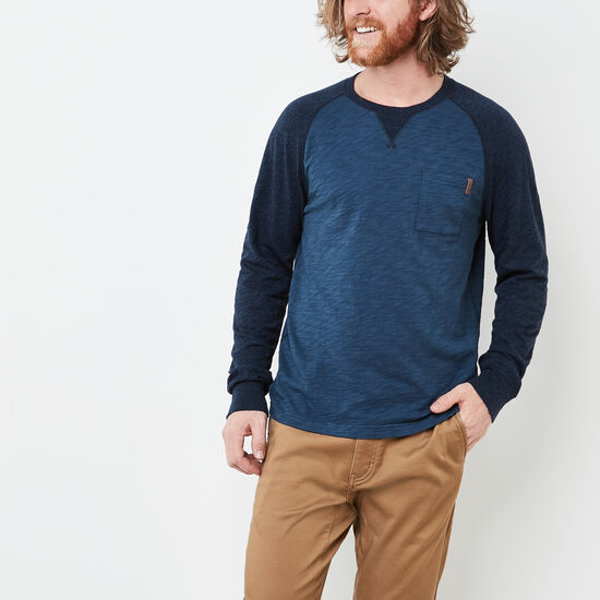 Roots-Men New Arrivals-Baldwin Peppered Crew-Insignia Blue-A