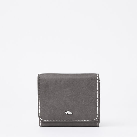 Roots-Women Wallets-Easy Trifold Wallet Tribe-Charcoal-A