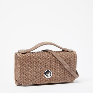 Roots-Leather Mini Leather Handbags-Turnlock Wallet Bag Woven Tribe-Fawn-A