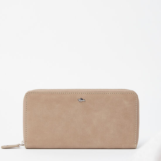 Roots-Leather Women's Wallets-Zip Around Wallet Tribe-Sand-A