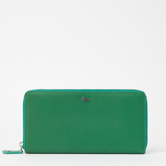 Roots-Leather Women's Wallets-Zip Around Wallet Bridle-Emerald-A
