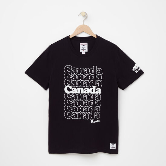 Roots-Women Men's-Mens Canada Stack T-shirt-Black-A