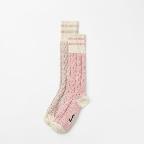 Roots-Women Socks-Womens Cable Park Sock 2 Pack-Bridal Rose-A