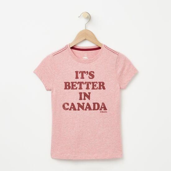 Roots-Kids T-shirts-Girls Better In Canada T-shirt-Bridal Rose Mix-A