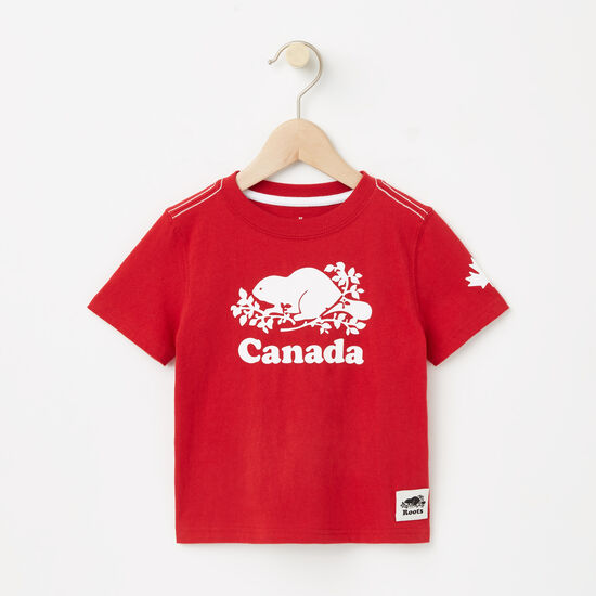 Roots-Kids T-shirts-Toddler Cooper Canada T-shirt-Sage Red-A