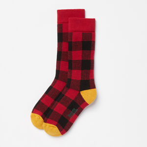 Roots-Kids Accessories-Kids Buffalo Check Boot Sock-Lodge Red-A