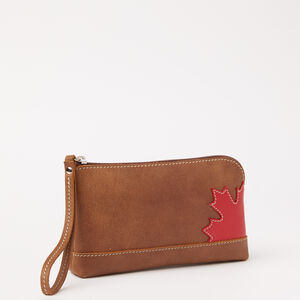 Roots-Women Leather-Maple Leaf Funky Zip Pouch Tribe-Africa-A