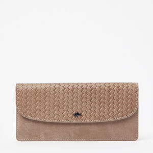 Roots-Leather Woven Tribe Leather-Slim Curve Wallet Woven Tribe-Fawn-A