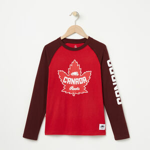 Roots-Kids Canada Collection-Boys Heritage Canada Long Sleeve T-shirt-Sage Red-A