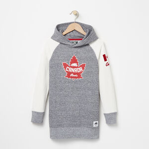 Roots-Kids Tops-Girls Heritage Canada Hooded Tunic-Salt & Pepper-A