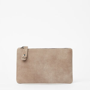 Roots-Leather Leather Accessories-Medium Zip Pouch Tribe-Fawn-A