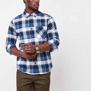 Roots-Men Plaids-Stoney Point Flannel Shirt-True Navy-A