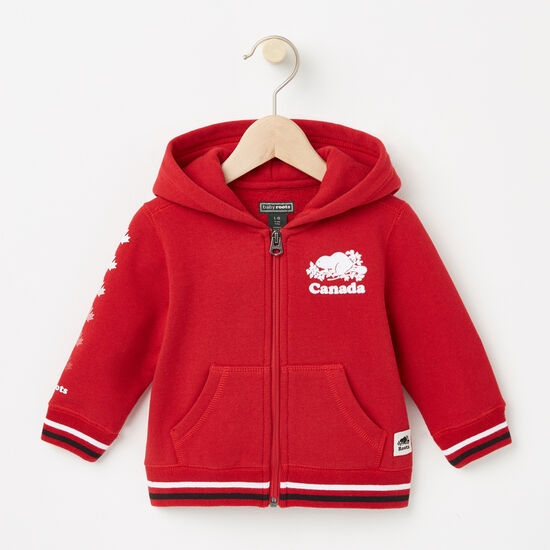 Roots-Kids Features-Baby Canada Full Zip Hoody-Sage Red-A